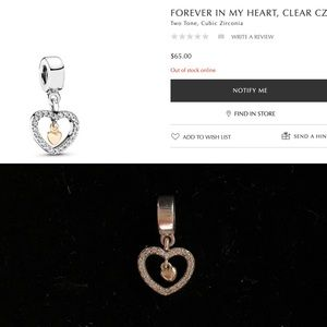 Pandora two toned charm heart shape